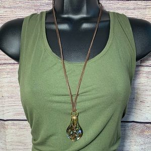 NWT blown glass pendant necklace on brown cording